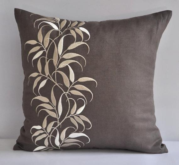 """Lovely Leaves- 18"""" x 18"""" Decorative Pillow Cover - Medium Taupe Linen Fabric with Beige Leaves Embroidery"""