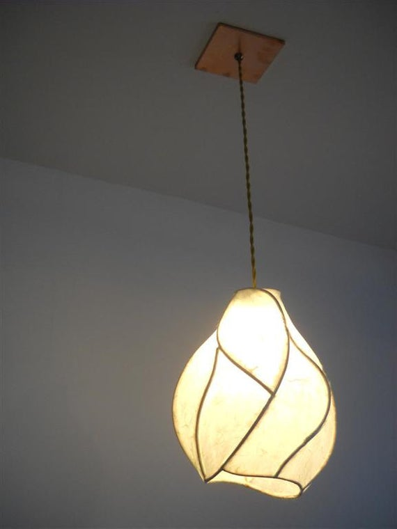 Hanging Pendant Chandelier Lighting - The Firefly - Copper and Handmade Paper Lantern