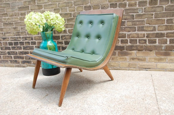 Vintage 1958 Carter Brothers Scoop Bentwood Chair Mid Century in Green